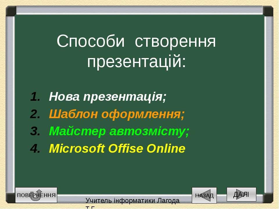 Способи створення презентацій: Нова презентація; Шаблон оформлення; Майстер а...
