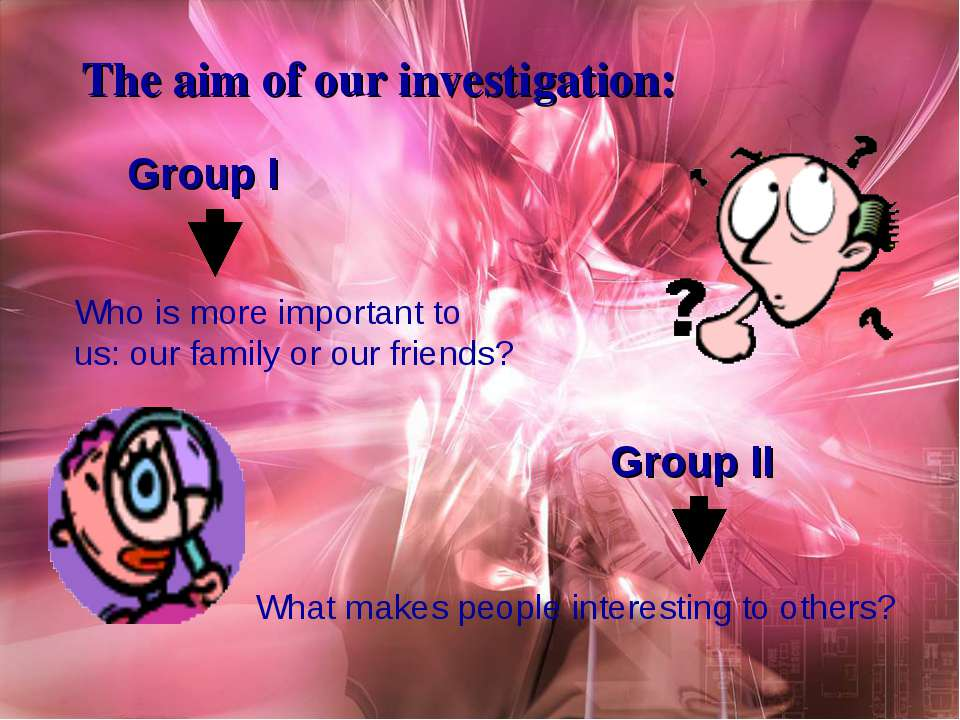 The aim of our investigation: Group I Who is more important to us: our family...
