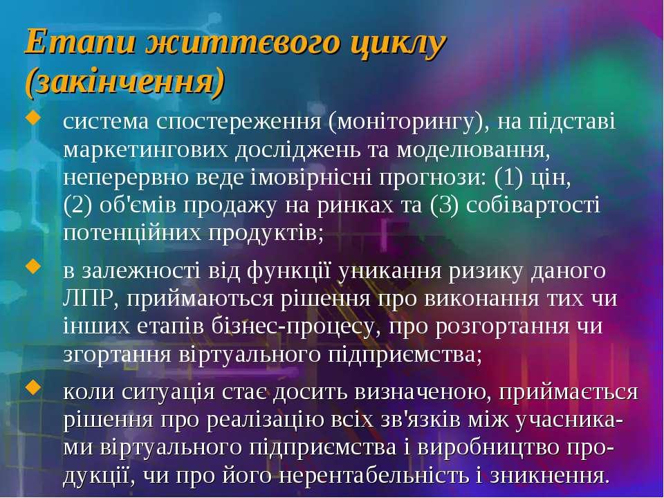 Етапи життєвого циклу (закінчення) система спостереження (моніторингу), на пі...