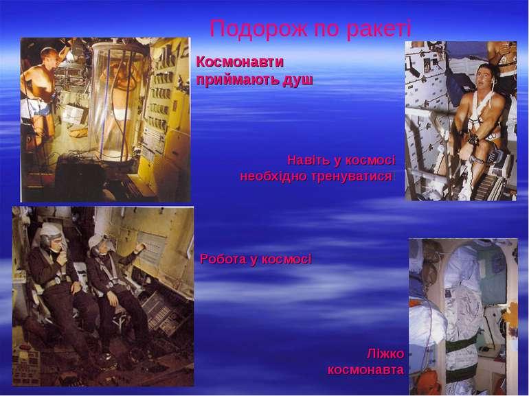 Подорож по ракеті Космонавти приймають душ Робота у космосі Навіть у космосі ...