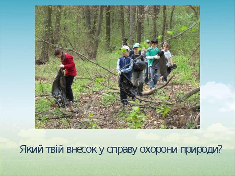 Який твій внесок у справу охорони природи?