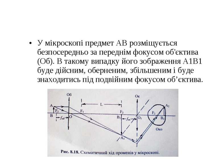 У мікроскопі предмет АВ розміщується безпосередньо за переднім фокусом об'єкт...
