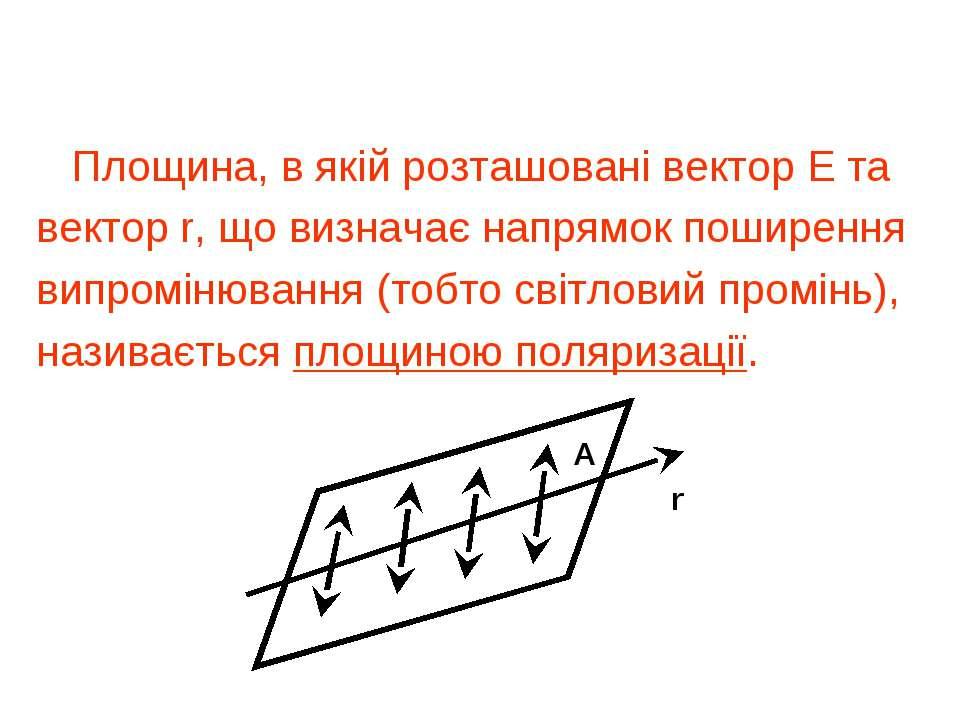 Площина поляризації Площина, в якій розташовані вектор Е та вектор r, що визн...