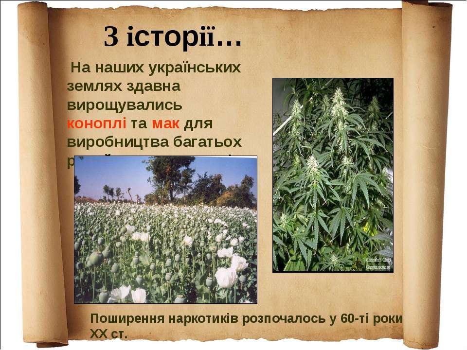 На наших українських землях здавна вирощувались коноплі та мак для виробництв...