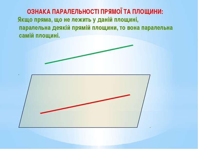 ОЗНАКА ПАРАЛЕЛЬНОСТІ ПРЯМОЇ ТА ПЛОЩИНИ: Якщо пряма, що не лежить у даній площ...
