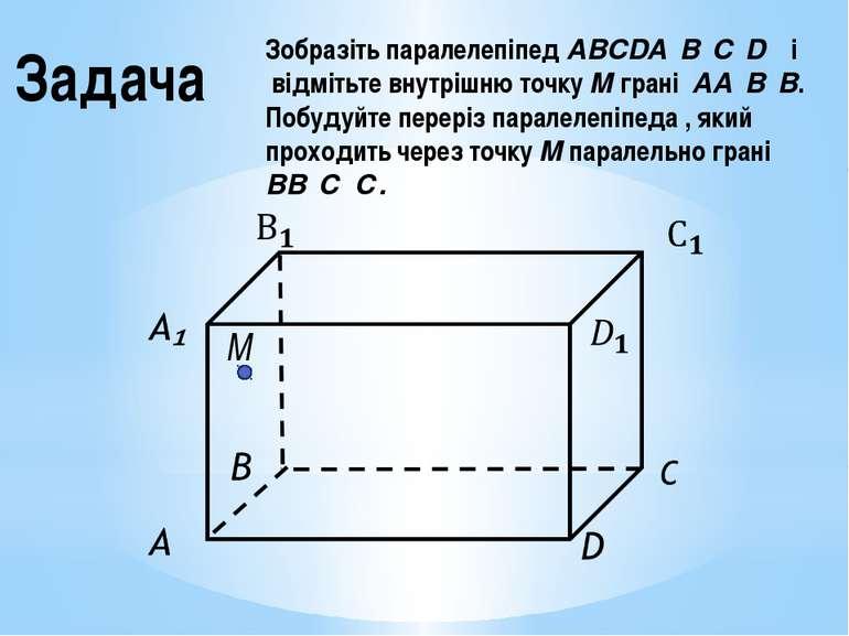 Задача Зобразіть паралелепіпед ABCDA₁B₁C₁D₁ і відмітьте внутрішню точку М гра...