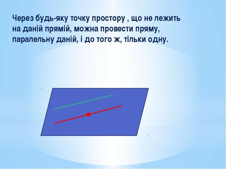 Через будь-яку точку простору , що не лежить на даній прямій, можна провести ...