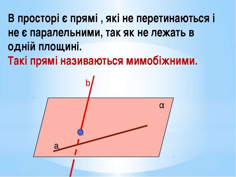 В просторі є прямі , які не перетинаються і не є паралельними, так як не лежа...