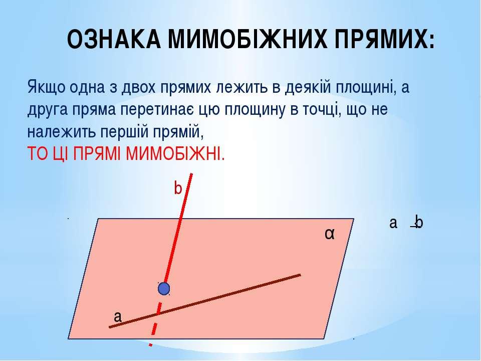 ОЗНАКА МИМОБІЖНИХ ПРЯМИХ: Якщо одна з двох прямих лежить в деякій площині, а ...