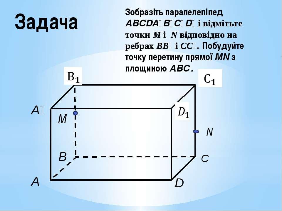Задача Зобразіть паралелепіпед ABCDA₁B₁C₁D₁ і відмітьте точки M і N відповідн...