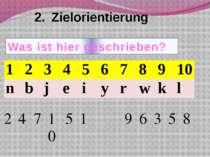 2. Zielorientierung Was ist hier geschrieben? 1 2 3 4 5 6 7 8 9 10 n b j e i ...