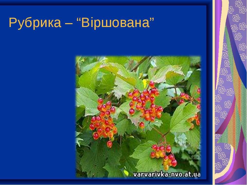 """Рубрика – """"Віршована"""""""