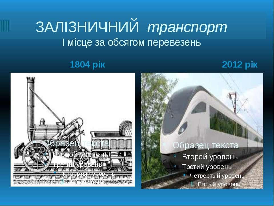 ЗАЛІЗНИЧНИЙ транспорт І місце за обсягом перевезень 1804 рік 2012 рік