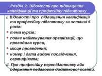 Розділ 2. Відомості про підвищення кваліфікації та професійну підготовку І. В...