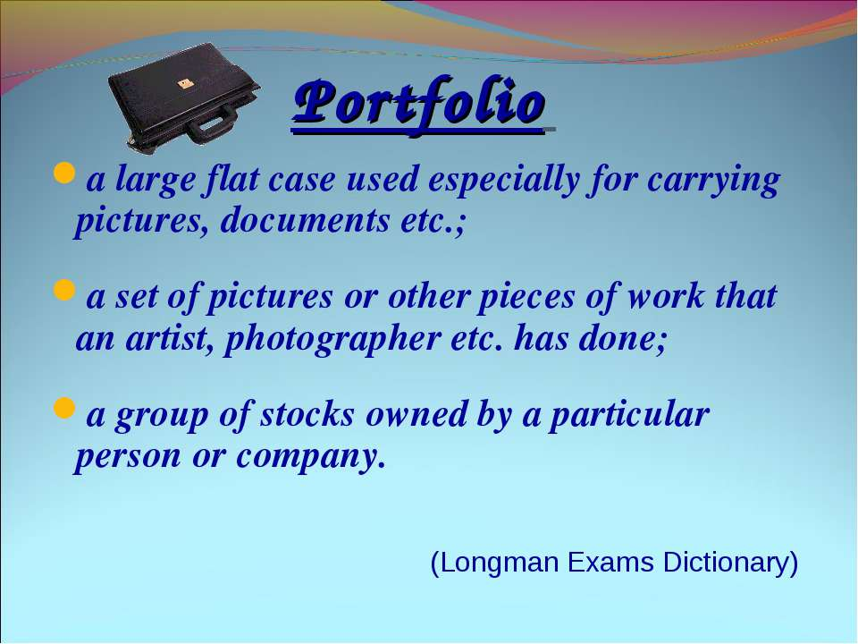 Portfolio a large flat case used especially for carrying pictures, documents ...