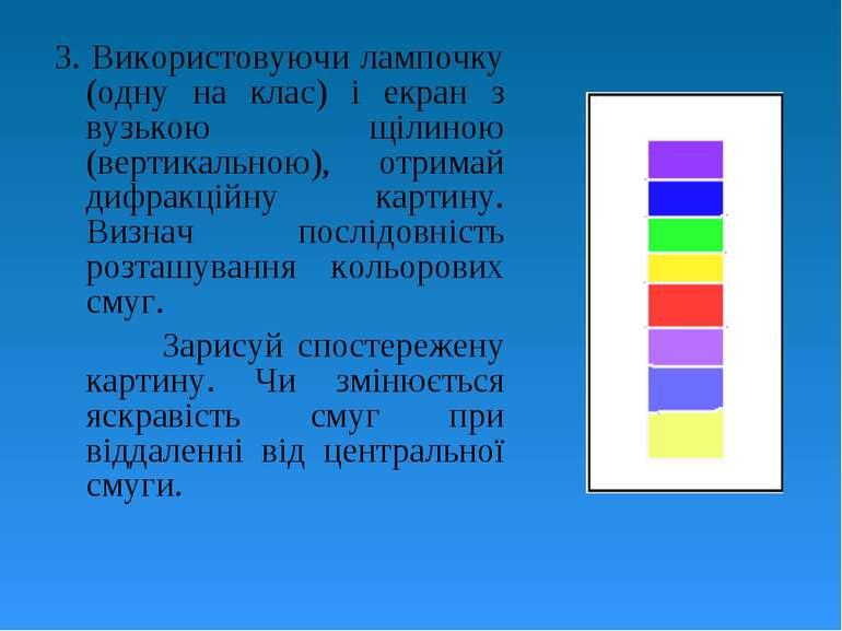 3. Використовуючи лампочку (одну на клас) і екран з вузькою щілиною (вертикал...