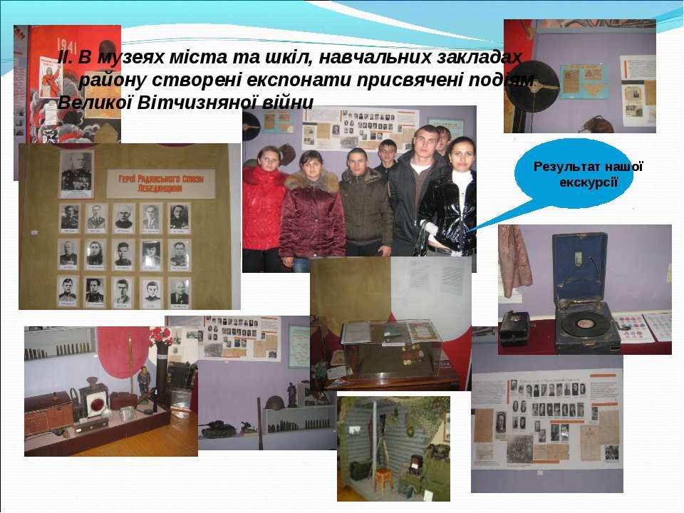ІІ. В музеях міста та шкіл, навчальних закладах району створені експонати при...