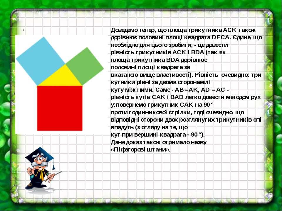. Доведемотепер,що площатрикутникаACKтакож дорівнюєполовиніплощі квадр...