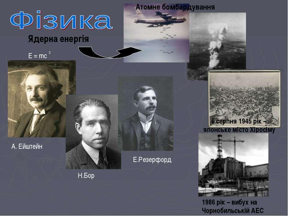 Ядерна енергія E = mc 2 Атомне бомбардування А. Ейштейн Н.Бор Е.Резерфорд 6 с...