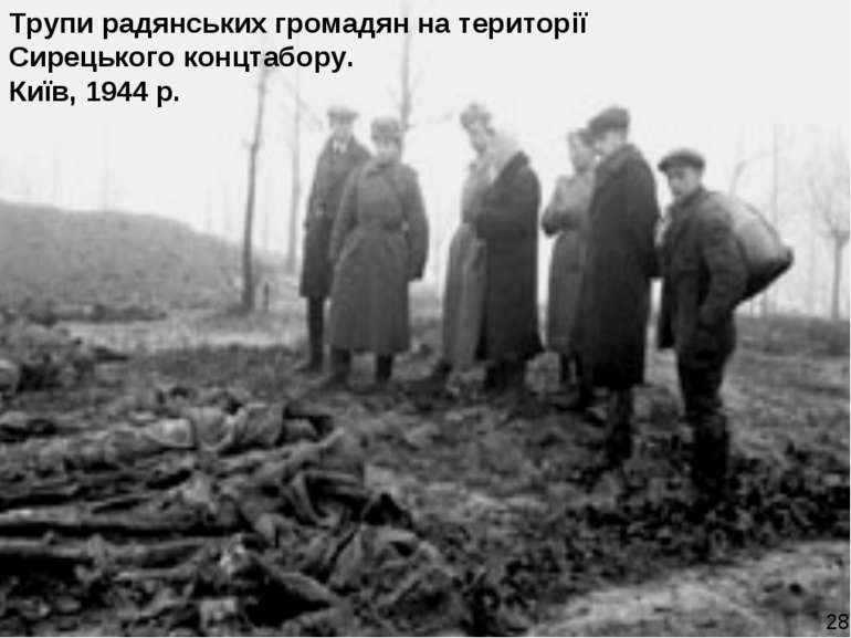 Трупи радянських громадян на території Сирецького концтабору. Київ, 1944 р. 28