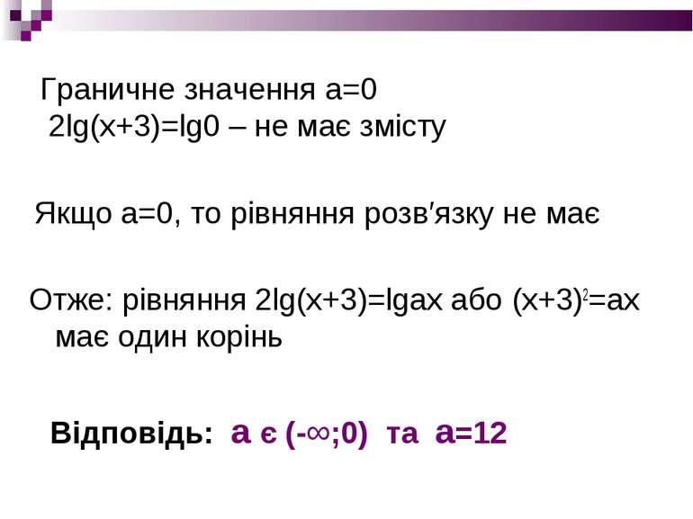 Граничне значення а=0 2lg(x+3)=lg0 – не має змісту Отже: рівняння 2lg(x+3)=lg...