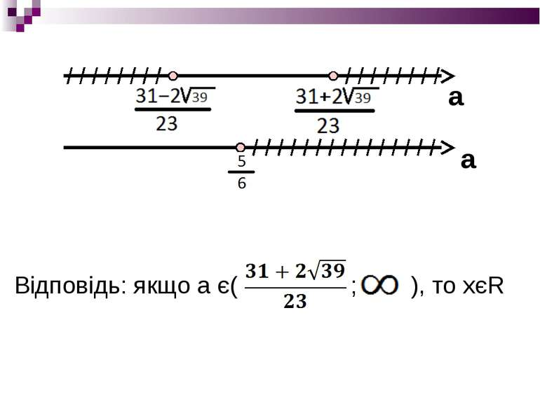 Відповідь: якщо а є( ; ), то хєR а а