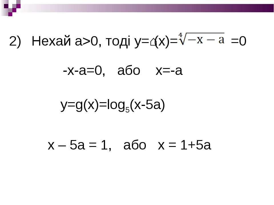 Нехай а>0, тоді у=ʄ(х)= =0 -х-а=0, або х=-а у=g(x)=log5(x-5a) х – 5а = 1, або...