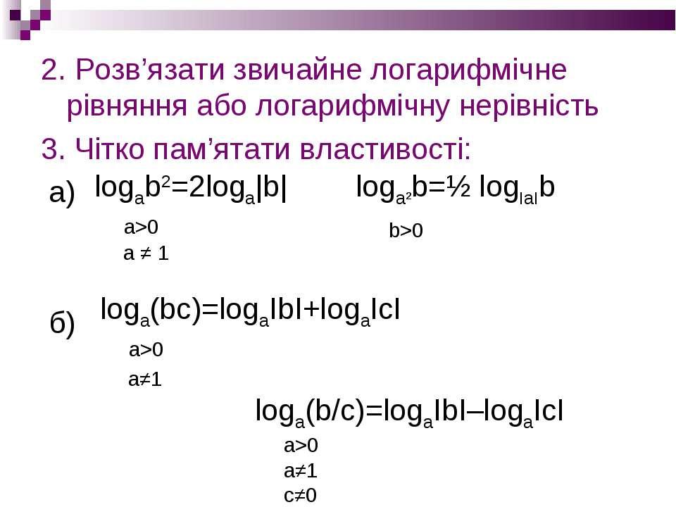 2. Розв'язати звичайне логарифмічне рівняння або логарифмічну нерівність 3. Ч...