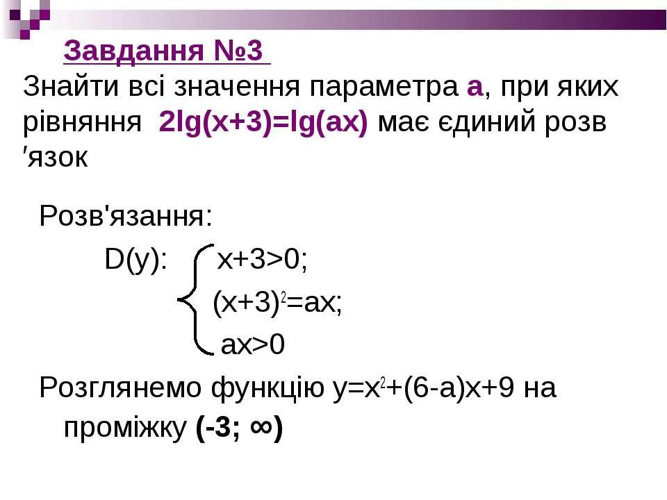 Завдання №3 Знайти всі значення параметра а, при яких рівняння 2lg(x+3)=lg(ax...