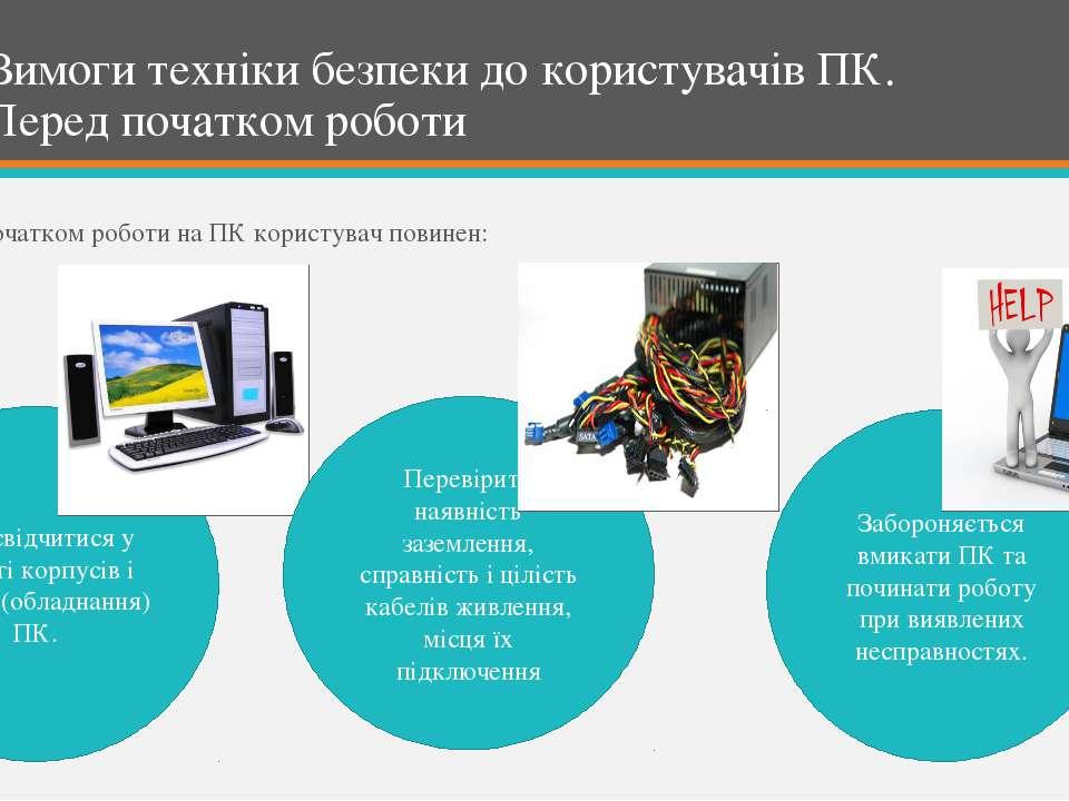 Вимоги техніки безпеки до користувачів ПК. Перед початком роботи Перед початк...