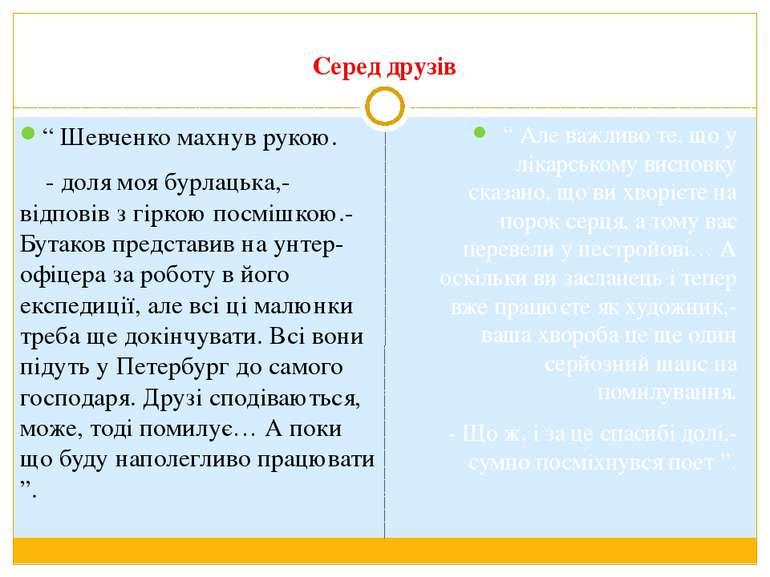 """Серед друзів """" Шевченко махнув рукою. - доля моя бурлацька,-відповів з гіркою..."""