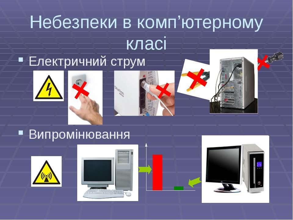 Небезпеки в комп'ютерному класі Електричний струм Випромінювання