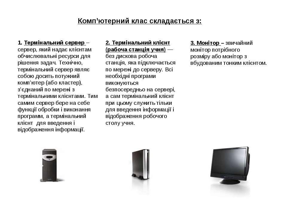 Комп'ютерний клас складається з: 1. Термінальний сервер – сервер, який надає ...