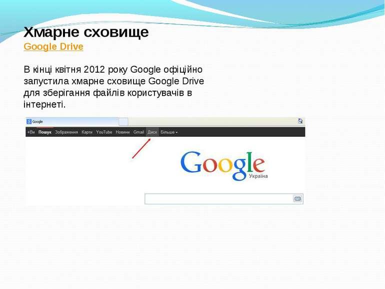 Хмарне сховище Google Drive В кінці квітня 2012 року Google офіційно запустил...