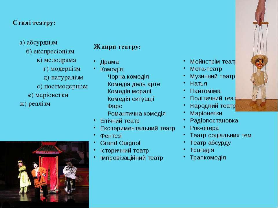 Стилі театру: а) абсурдизм б) експресіонізм в) мелодрама г) модернізм д) нату...