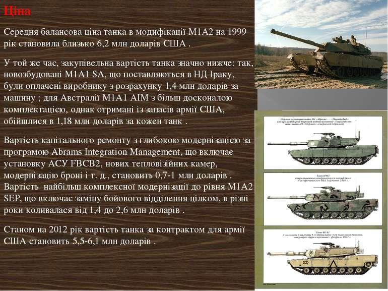Ціна Середня балансова ціна танка в модифікації М1А2 на 1999 рік становила бл...