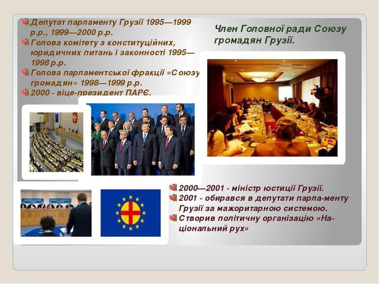 Депутат парламенту Грузії 1995—1999 р.р., 1999—2000 р.р. Голова комітету з ко...