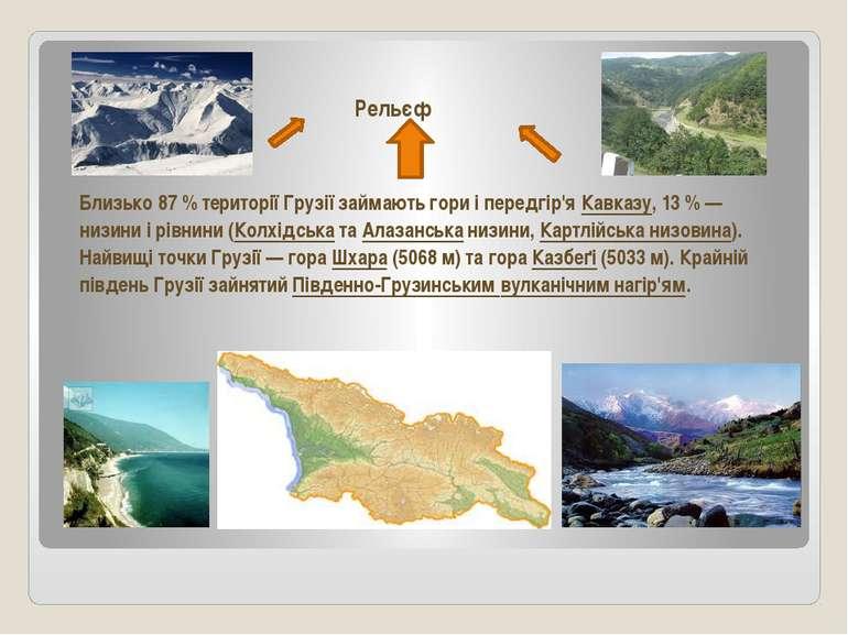 Рельєф Близько 87% території Грузії займають гори і передгір'яКавказу, 13%...