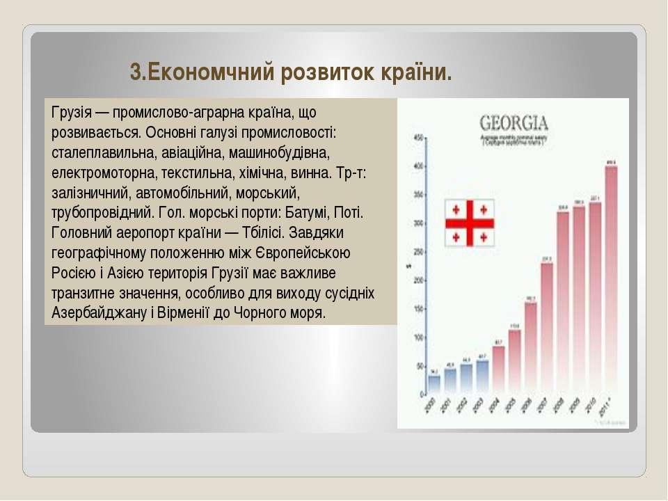 3.Економчний розвиток країни. Грузія — промислово-аграрна країна, що розвиває...