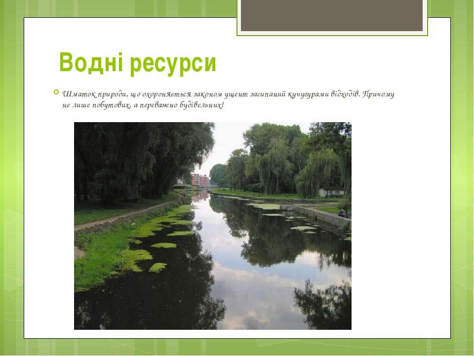Водні ресурси Шматок природи, що охороняється закономущент засипаний кучугур...