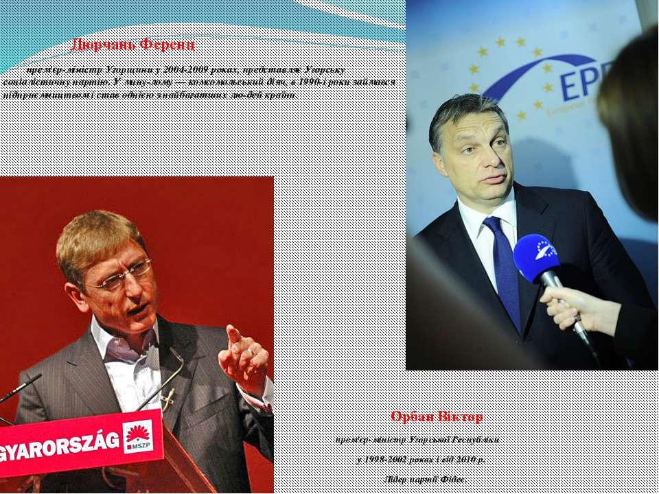 Дюрчань Ференц прем'єр-міністр Угорщини у 2004-2009 роках, представляє Угорсь...