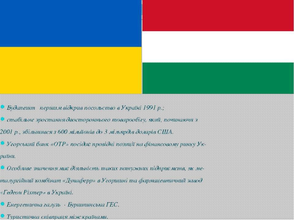 Будапешт першим відкрив посольство в Україні 1991 р.; стабільне зростання д...