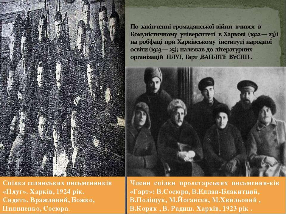 Спілка селянських письменників «Плуг». Харків, 1924 рік. Сидять. Вражливий, Б...