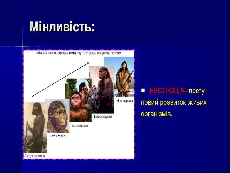 Мінливість: ЕВОЛЮЦІЯ- посту – повий розвиток живих організмів.