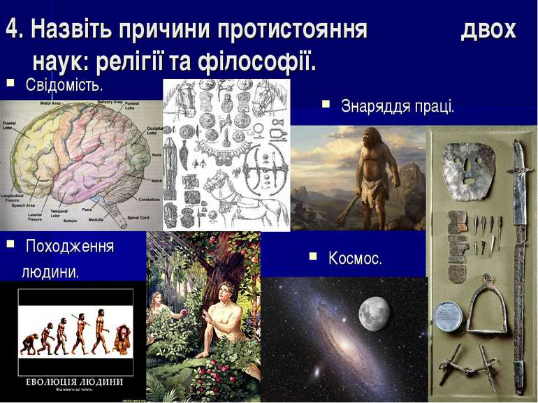 4. Назвіть причини протистояння двох наук: релігії та філоcофії. Свідомість. ...