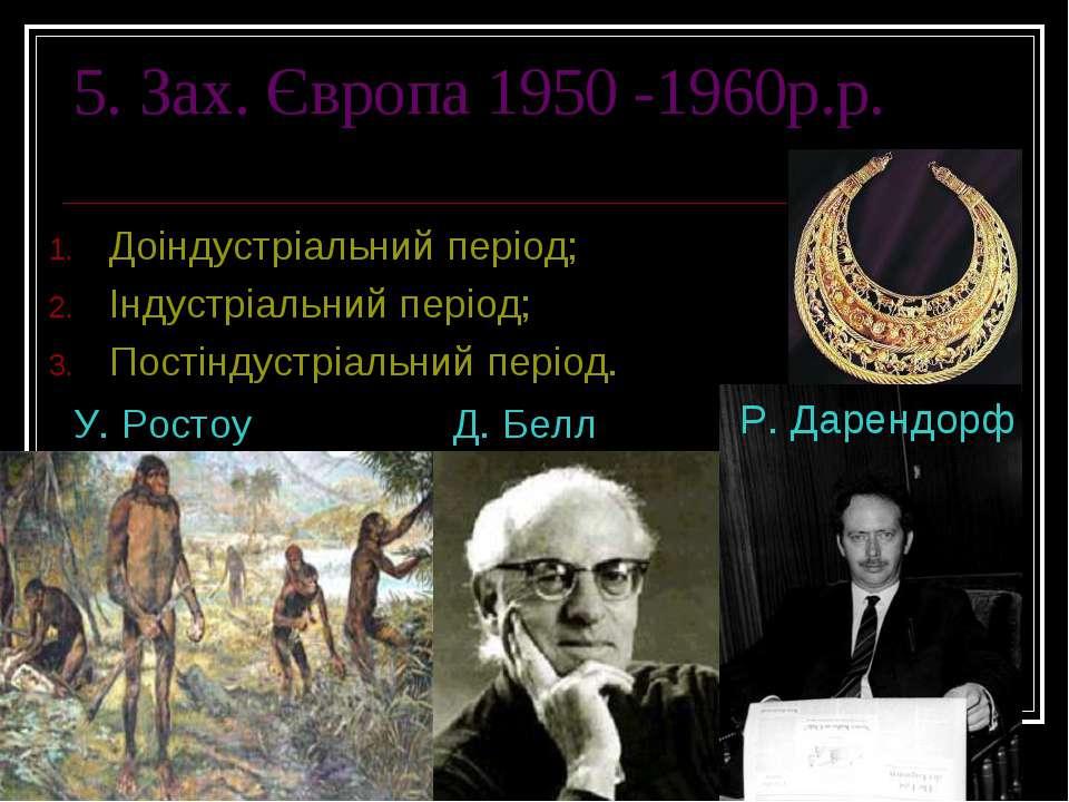 5. Зах. Європа 1950 -1960р.р. Доіндустріальний період; Індустріальний період;...
