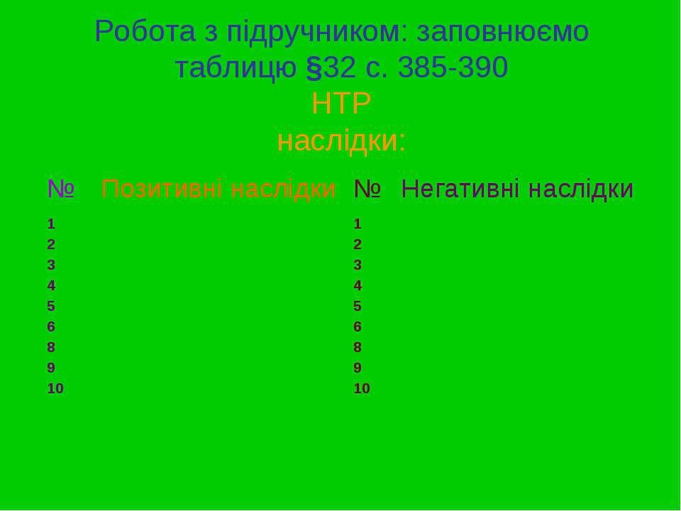 Робота з підручником: заповнюємо таблицю §32 с. 385-390 НТР наслідки: № Позит...