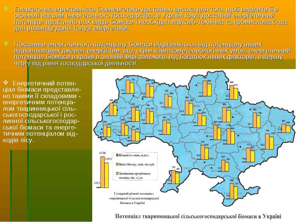 Енергетична ефективність біоенергетики достатньо висока для того, щоб виділит...