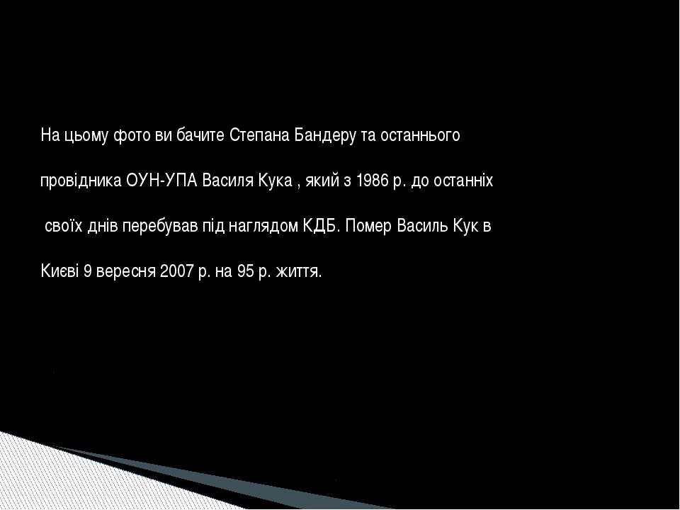 На цьому фото ви бачите Степана Бандеру та останнього провідника ОУН-УПА Васи...