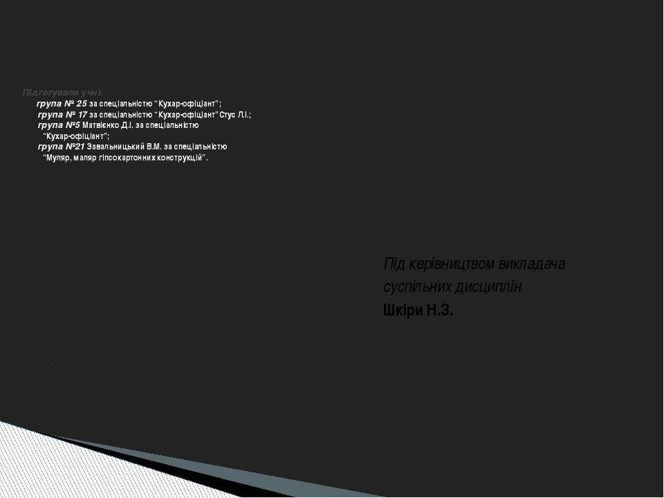 м. Калуш Івано-Франківська обл. ВПУ №7 2008-2009рр. . Підготували учні: група...
